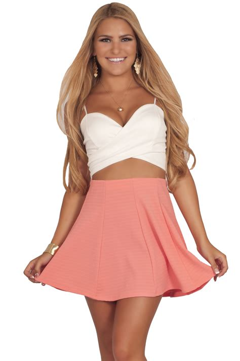 High Waisted Ribbed Skort Celana Pendek juniors soft flirty fit n flare ribbed texture high waisted skater mini skirt hotfromhollywood
