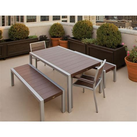 Trex Outdoor Furniture Surf City Textured Silver 5 Piece Patio Table With Bench Seating