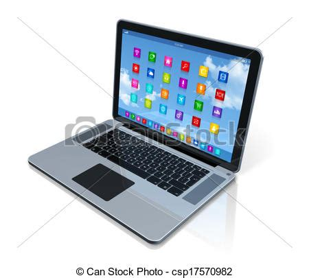 stock illustration of laptop computer apps icons
