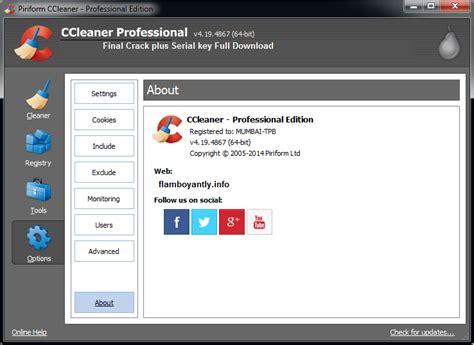 ccleaner registration ccleaner pro v4 19 4867 final crack plus serial key full