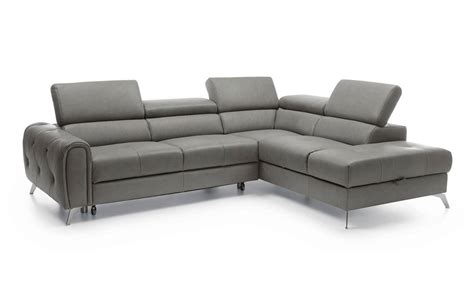 Genuine Leather Sectional Sofa by Esf Camelia Grey Italian Genuine Leather Sectional Sofa