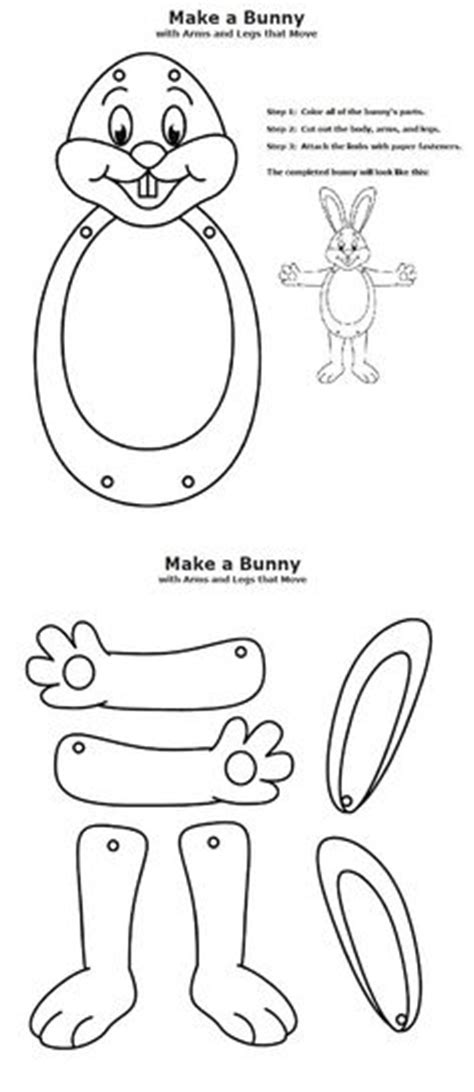 rabbit cut out paper doll see my profile for purchasing 7 best images of brass fastener crafts printable easter
