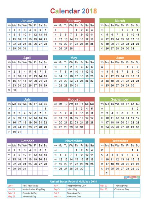 Printable Yearly Calendar 2018 Yearly 2017 Printable Calendar Color Weekday Starts 2017