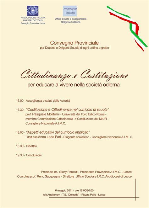 ufficio scuola lecce 6 maggio convegno aimc su cittadinanza e costituzione