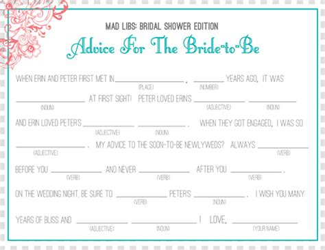 printable wedding shower mad libs 4 best images of bridal shower mad libs printable free