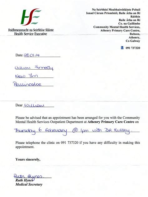 hse appointment letter template dr deirdre hussey appointment for february 6th 2014 from