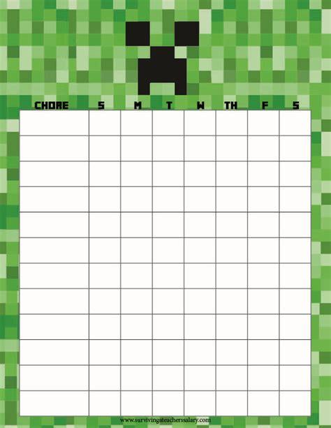 printable calendar chore chart printable minecraft chore chart minecraft printable