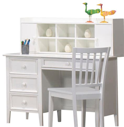 Childrens Desk With Hutch Homelegance Whimsy 4 Drawer Desk With Hutch And Chair In White Traditional Home Office