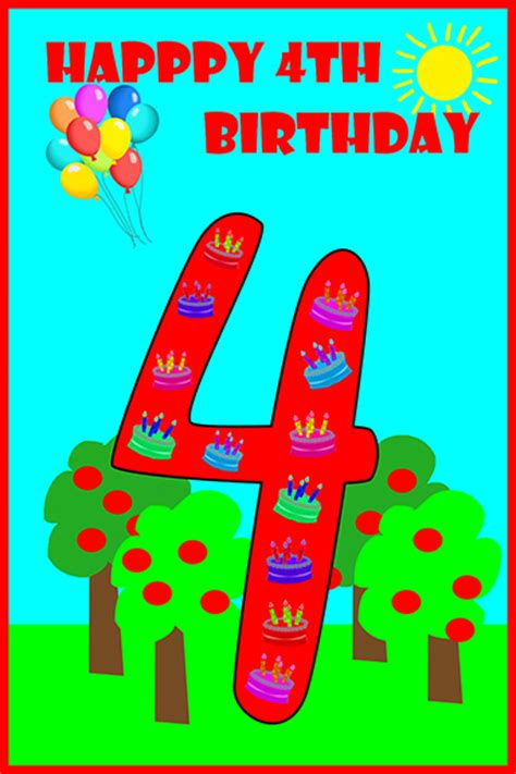 Happy 4th Birthday Quotes Printable Birthday Cards Birthday Party Ideas For Kids