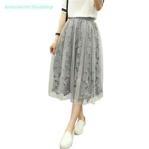 fashion lace tulle skirts high waist mesh midi