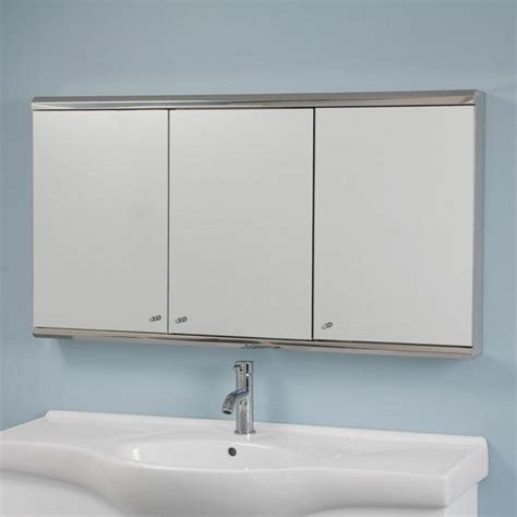medicine cabinet for bathroom cosmopolitan stainless steel tri view medicine cabinet