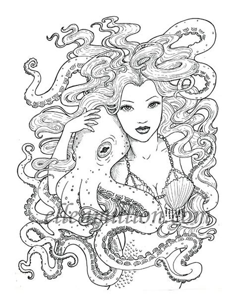 tentacle friends beautiful mermaid octopus digi st digital