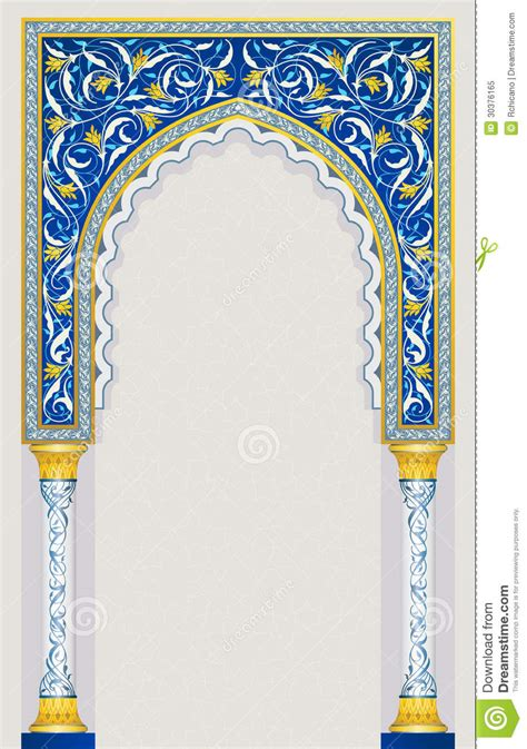 design masjid vector free download islamic arch design in classic blue color stock vector