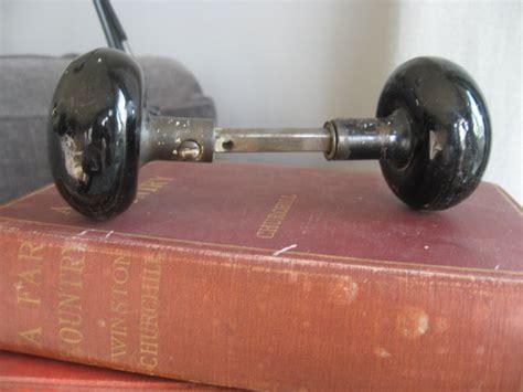 Spindle Door Knob Set by Vintage Black Glass Door Knob Handle Set With Spindle