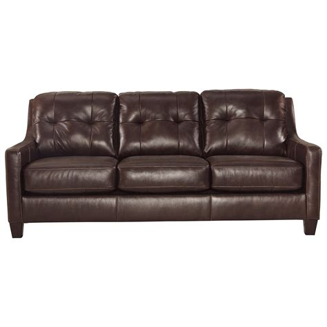 contemporary leather match queen sofa sleeper by signature