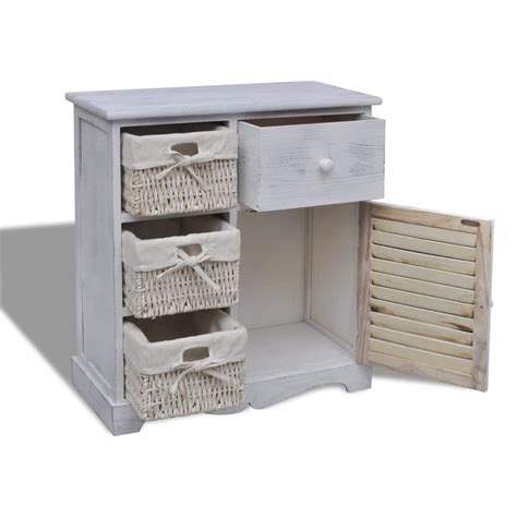 the cabinet basket vidaxl co uk white wooden cabinet with 3 left weaving