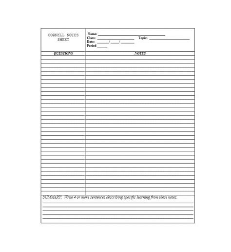 notes word template 36 cornell notes templates exles word pdf