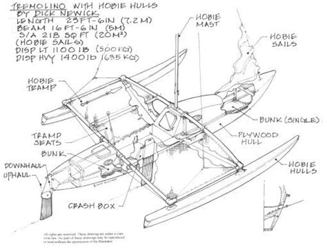 trimaran hull design trimaran sailboat plans sailboats - Trimaran Parts