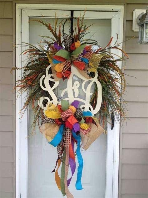 Monogrammed Front Door Wreaths Monogram Wreath Front Door