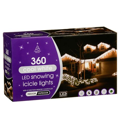 led icicle lights cool white 360 snowing icicle led lights cool white christmas b m
