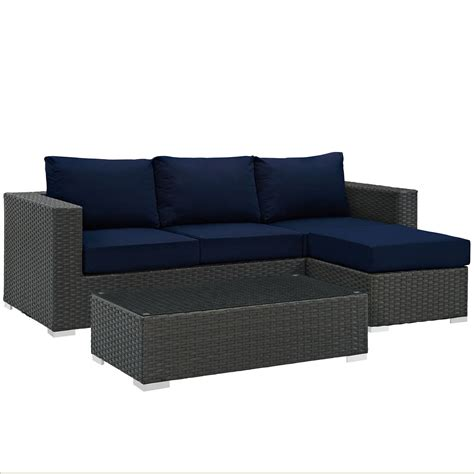 sunbrella outdoor sectional modway sojourn 3 piece outdoor patio sunbrella sectional