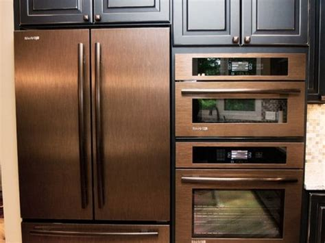 rose gold appliances copper refrigerator wall oven and wall microwave copper