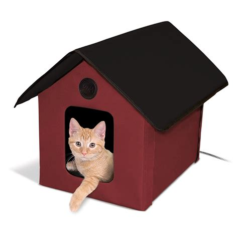heated outdoor cat house k h manufacturing heated outdoor kitty house cat warm waterproof outside shelter ebay