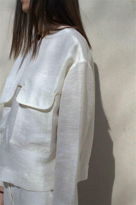 Blouse Saku Jumbo Linen contemporary fashion white shirt with large flap pocket detail nanushka clothes gems