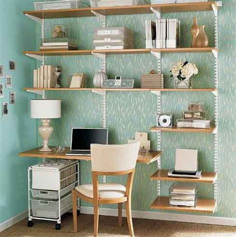 space saving combine a shelving unit with a desk