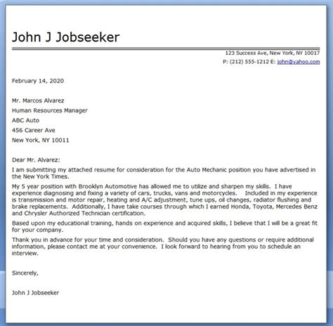 auto mechanic cover letter template resume downloads