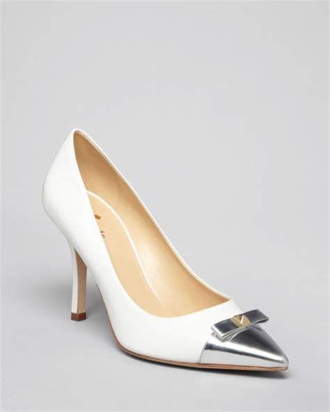silver pointed toe high heels kate spade pointed toe cap toe pumps palomoa high heel in