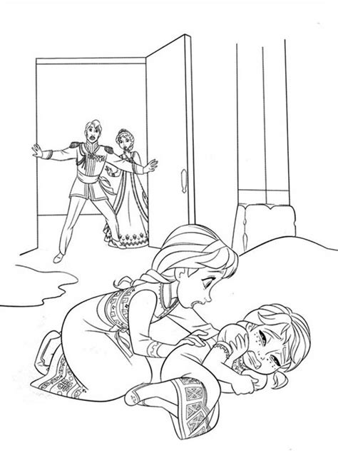 elsa accidentally struck anna  playing coloring page