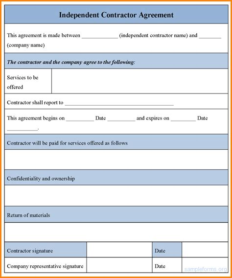 contractor template contract contractor contract template independent contractor