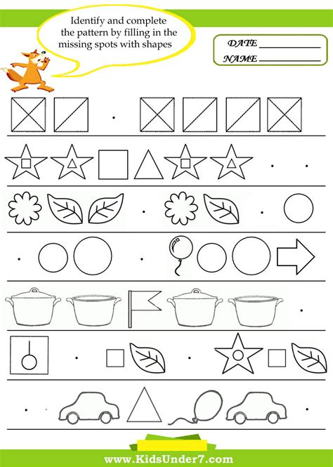 complete the pattern for kindergarten number patterns worksheets new calendar template site