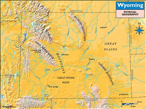 physical map of wyoming wyoming physical geography map by maps from maps
