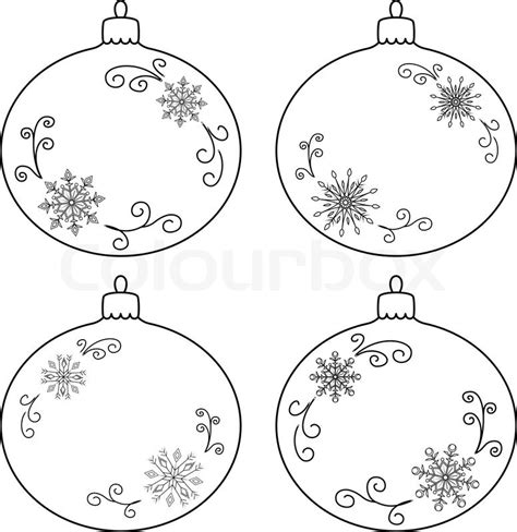 Tree Balls Outline by Vector Tree Decoration Set Glass Balls With Snowflakes Contours Stock Vector