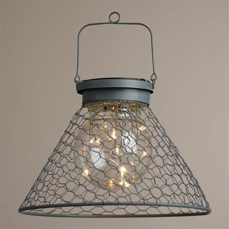 Solar Lantern Lights Antique Gray Wire Solar Led Lantern World Market
