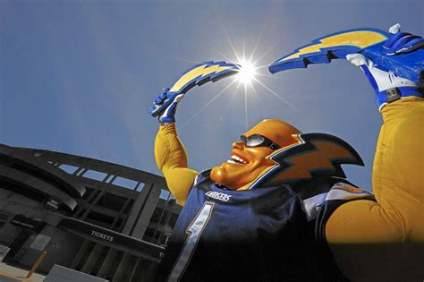 chargers mascot boltman the fan is a lightning rod in chargers relocation