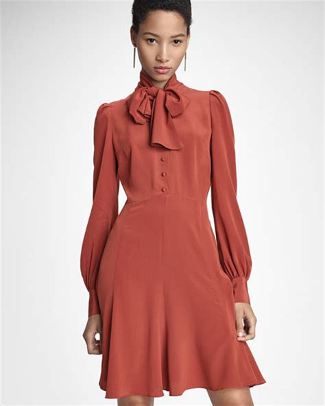 co puffed sleeve tie neck dress burnt