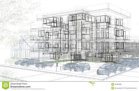 create a building exterior building wireframes design rendering