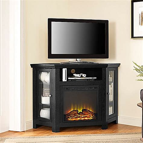 inch tv stand black corner inspirations and small for buy walker edison 48 inch corner fireplace tv stand in