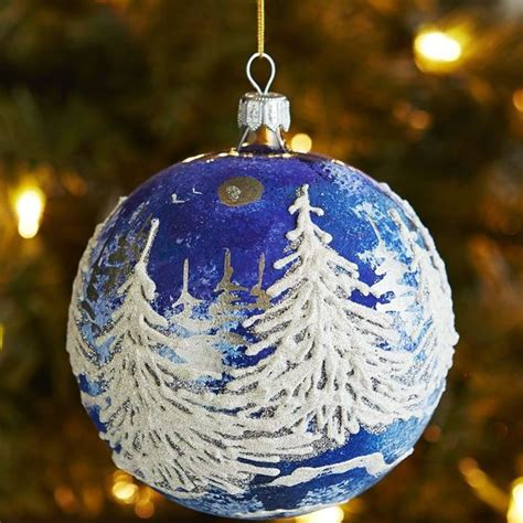 european christmas decorations european glass relief trees ornament blue pier 1 imports diy ornaments