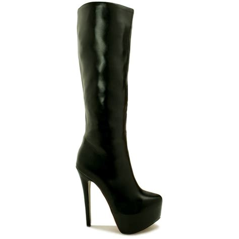 knee high black heel boots buy phoebe stiletto heel concealed platform knee high