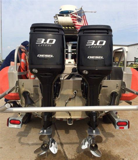 rescue boat engine uscg tests using diesel outboards on fast rescue boats