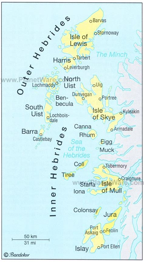 the hebrides by the map of scotland places of tourist interest planetware