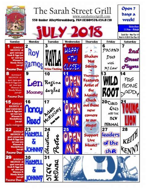 calendar sarah street bar grill