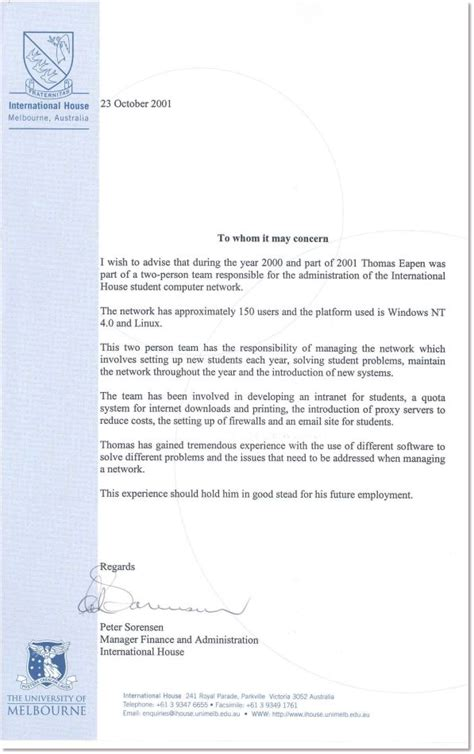 Work Experience Letter For Network Administrator International House Eapen