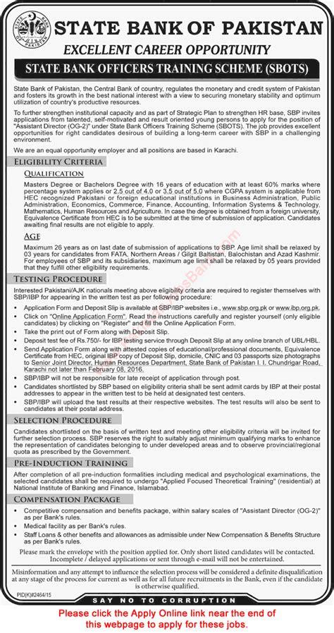 State Bank Application State Bank Of Pakistan 2016 Sbp Apply