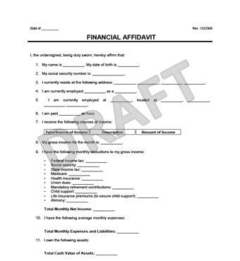 financial affidavit financial affidavit template create a free financial