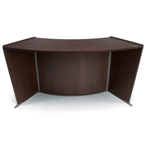 Accessible Reception Desk Ofm Marque Ada Wheelchair Accessible Curved Reception Desk In Walnut Ebay